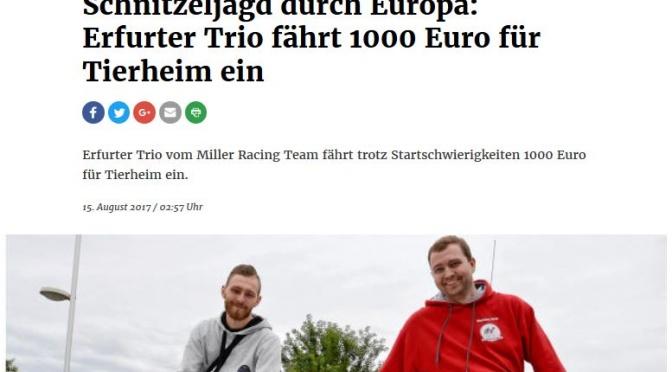 Erfurter Zeitung- Erfurter Trio fährt 1000 Euro für Tierheim ein